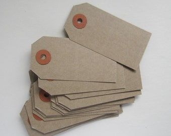 50 traditional plain buff brown parcel gift tags - 35x70mm, 41x82mm, 48x96mm, 60x120mm