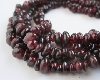 35 inch strand of 4-6mm garnet rounded chips beads natural semi precious gem stone