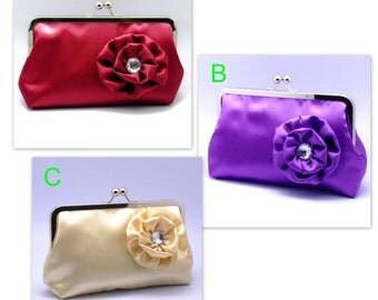 BIG SALE - (Satin clutch purse with  rhinestone satin flower) Large clutch purse (16)