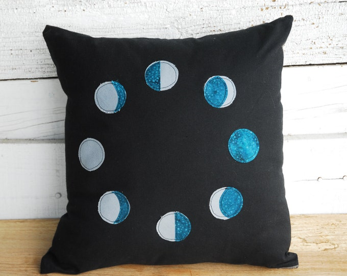 Phases of the Moon Pillow Cover - Organic Cotton and Linen Home Decor Moon Pillow