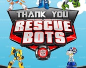 Printable Rescue Bots Thank you Card, Transformers Party, Optimus Prime Thanks