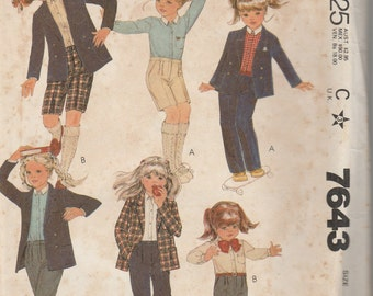 1981 Sewing Pattern McCall's 7643 girls jacket, shirt, pants, shorts size 12 bust 30