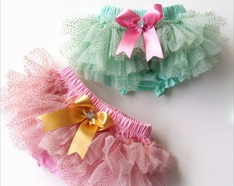 Chiffon Sparkle Tutu Bloomers In Mint or Pink