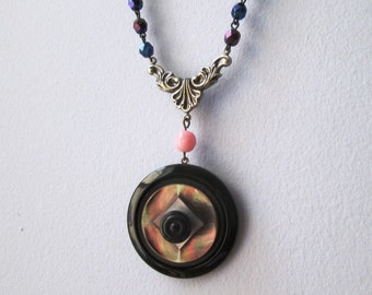 LONG LAYERING Vintage Rosary and Button Necklace Jewelry: Iridescent Pink, Blue and Black MOP Charm