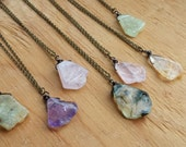 Quartz Pendant Necklace - Your Choice - Amethyst, Citrine, Rose, Green Quartz - Stone Slice Everyday Bohemian Jewelry - Antique Brass Chain