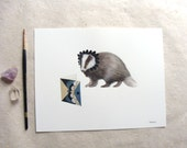 ORIGINAL // Critters and Cards: Badger // Watercolor and Pen