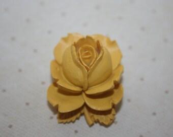 Vintage Bakelite Yellow Rose Brooch Pin