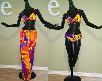 Hawaiian 60s 70s Bikini Swimsuit + Cover Up SET Maxi Skirt Tiki Oasis Hukilau MOD Twiggy Style 1960 1970 Hawaii Hippie Beach Surf Surfer Gal