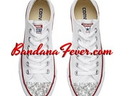 """Converse Low White """"Bling"""" Toes - Swarovski Crystals, Converse Rhinestones, Glitter Converse - Blinged Out Shoes by Bandana Fever"""