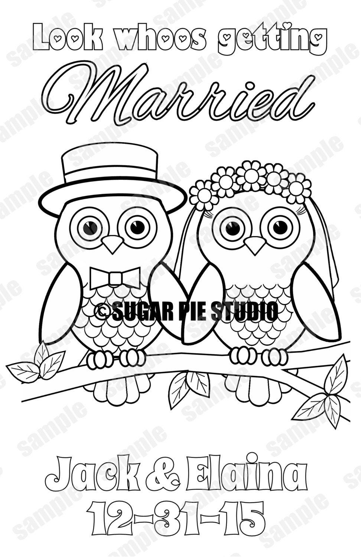 Owl Wedding Coloring Book Activity Reception Childrens Favor