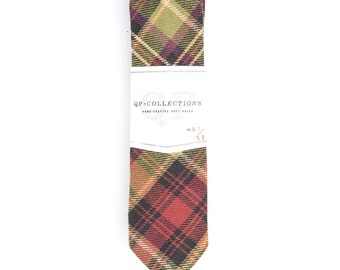 Warm Plaid - Skinny Tie - Wedding - Monogram - Groom