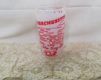Massachusetts Souvenir Tumbler Glass Vintage Federal Glass The Bay State