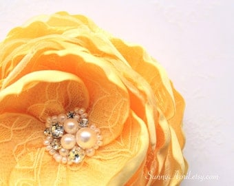 Yellow Hair Flower/ Brooch/ Handmade Wedding Accessory/ Bridal Flower/ Bridesmaid Hair Flower