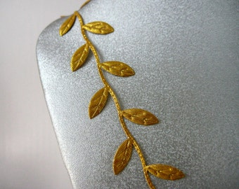 Gold Leaves Ribbon Trim for Wedding, Crafting, Scrapbooking, Card Making, Embellishment,  5/8 inch wide