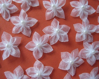 """White Organza Flowers Appliques for Crafting, Sewing, Doll Clothes, Embellishment - 3/4"""" (2 cm), 30 pieces"""