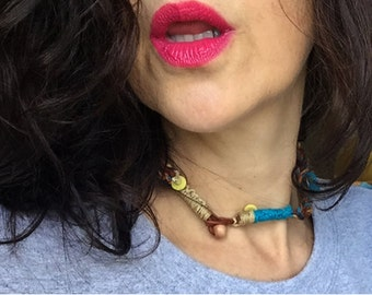 Braided Leather, Hemp and Wool Necklace/Choker