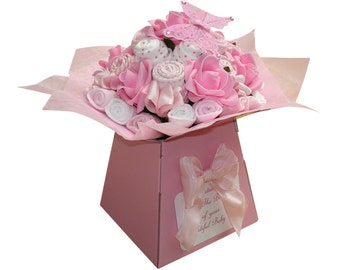 New Baby Gift - Baby Clothes Bouquet - Baby Shower Gift - Diaper Cake - Baby Girl - 19 items of Baby