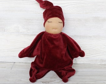 """Ready to ship Waldorf inspired """"star"""" baby in merlot"""