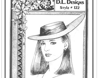 """DL DESIGNS Pattern 122 - Misses' Flirty Brimmed Hat - For Head Sizes 18"""" to 25"""" - Hat Sizes 6 to 8 - Uncut/FF - Vintage 1987"""