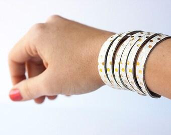 Leather Bracelet / Original Sliced Cuff / Gold Dots
