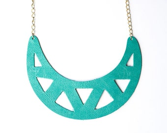 Leather Necklace / Statement / Caribbean Blue