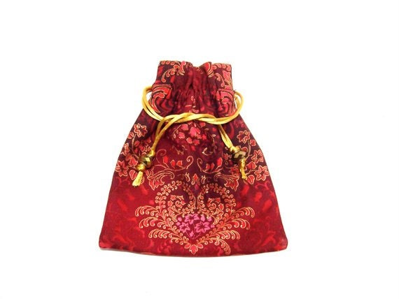 Jewelry pouch fabric drawstring pouch accessory pouch for Drawstring jewelry bag pattern