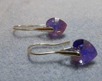Swarovski Crystal 10mm Drop Heart Earrings.  Purple Heart Silver Earrings