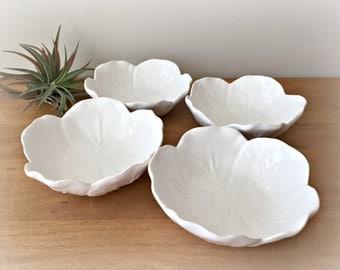 Bordallo Pinheiro Fruit Bowls White Cabbage Leaf Majolica Pottery Dessert Bowls Portugal