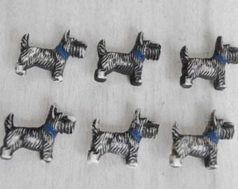 Six Vintage Scottie Dog Buttons