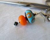 Turquoise and Orange Scissor Fob
