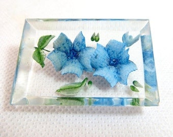 SALE! Vintage 1940s Lucite Brooch, Reverse Carved Blue Roses Flower Posy Chunky Clear Plastic Rectangular Brooch