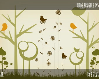 Birds Photoshop brushes, set of 45 Photoshop brushes (digital stamps) in two sizes, Birds Clip Art
