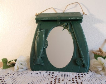 Dark Forest Green Fishing Mirror Lake House Cabin Man Cave Sport's Den Boy Camping Bedroom Home Decor Birthday Father's Day Gift Him Wall