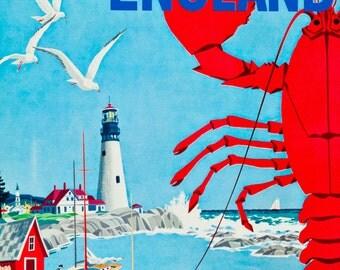 New England Greyhound Bus Vintage United States of America Travel Advertisement Art Poster