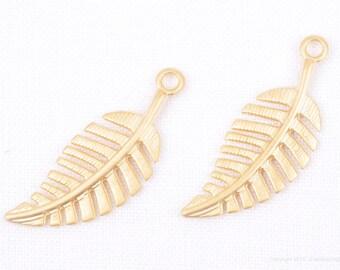 P709-MG// Matt Gold Plated Leaf Pendant, 4 pcs