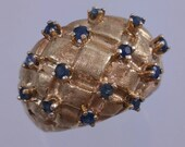 Reserve** 14k Gold Blue Sapphire Ring With Domed Basketweave Setting Sputnik Style Gemstone Rings