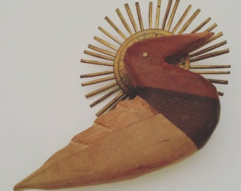 Wood Duck Decoy Pin, Brass Sunburst Accent, Hand Carved Multi Color Wooden Duck Brooch