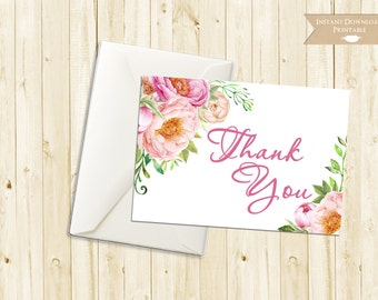 Floral Watercolor Peony Thank You Card Printable INSTANT DOWNLOAD