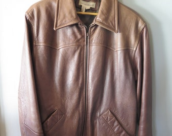 Vintage 1990's Colebrook & Co Brown Leather Zip Up Fitted Bomber Style Jacket, Size L