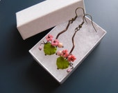 Wire jewelry, statement earrings, engagement gift, flower earrings, gift for her, pink and green,  copper wire earrings, Bouquet