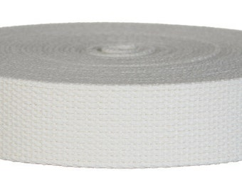 """5 Yards Cotton Webbing 1.50"""" White - For Key Fobs, Handbags, Belts, Totes, Backpacks, Dog Collars, Dog Leads"""