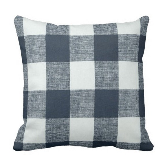 Steel Blue Throw Pillows : Items similar to Plaid Pillows,Steel Blue Pillows, Spring Pillows, buffalo check Pillow Cover ...