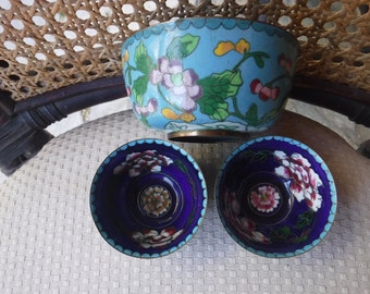 Cloisonee bowls lot of three from China