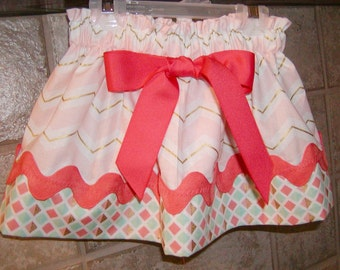 Girls Skirt Custom..Coral Chevron N Arrows..Available in 0-12 months, 1/2, 3/4, 5/6, 7/8, 9/10 Bigger Sizes Available