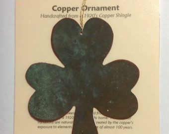Shamrock Ornament - Handcrafted out of Recycled Copper