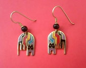 LAUREL BURCH Earrings,Aztec  Cat bright colors, Black Wood Bead Accent,70s Collectible, Cat Earrings, Lavender Red Turquoise Black---Reduced