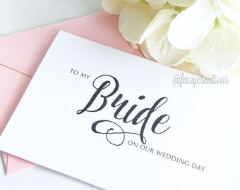 Bride Wedding Thank You Cards // To My Bride on Our Wedding Day Card // Bride Card // Wedding Day Card