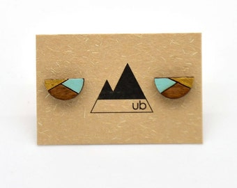 Half Circle Colour Block with Gold - Wood Studs