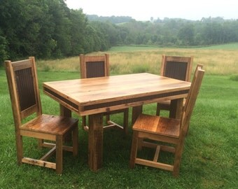 Reclaimed Oak/Metal Table Set
