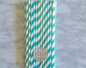 25 light blue and White Striped Paper Straws - Standard 7.75'' / 19.68cm PANTONE 311